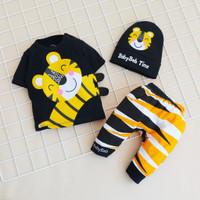 Setelan Baju Celana Anak Bayi 6-18 bulan BBB Motif Tiger - Hitam