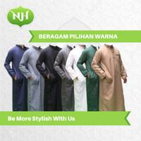 Baju Jubah Gamis Arab Muslim Pria M L XL Lengan Panjang