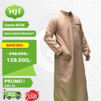 Baju Jubah Gamis Muslim Pria Warna Cream Coklat M L XL Lengan Panjang - M