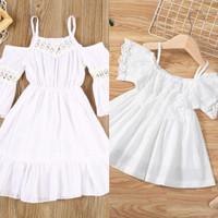 Dress putih polos renda linen pantai baju anak cewek lembut import