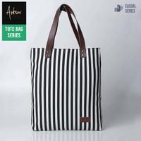 Tote Bag Tas Wanita Premium Original Bahan Kanvas Motif Garis Lucu