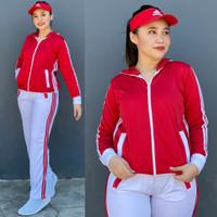 Baju Senam Setelan Aerobic Lapangan Hijab Muslim Adidas Merah Putih