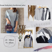 Baju kaos lengan panjang wanita / Blouse Button kombinasi salur