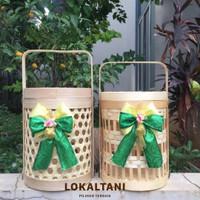 Keranjang Parcel Bambu isi kue kering 3 toples/ Wadah Hampers Lebaran