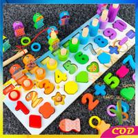 RB - M94 Mainan Edukasi 7in1 Puzzle Kayu Anak Huruf dan Angka Pancing