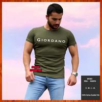 Baju Kaos Giordano Non Original Pria Wanita Warna Hijau Army S M L XL