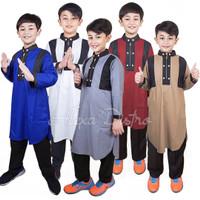Baju Koko Kurta Anak Usia 1 - 14 Tahun Toyobo Fodu Premium - Biru, XS