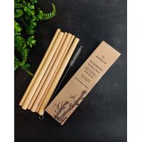 Sedotan bambu set 6/set reusable bamboo straws FREE Cleaner brush