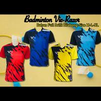 Baju Badminton Victor/Baju Bulutangkis/kaos bulutangkis/baju olahraga - Biru Muda, M