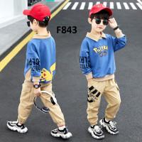 BAF843 Baju Setelan Anak Laki-laki Impor Pokemon 6-13 tahun