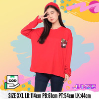 Baju Kaos atasan Wanita Lengan Panjang Jumbo XXL JF-ALIFA