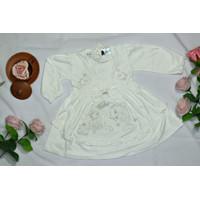 Baju Bayi Perempuan Dress Putih Akikah Aqiqah Baptis Lengan Panjang - S