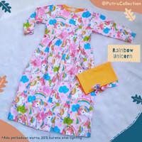 Gamis Anak Usia 2-6 Thn Baju Muslim Perempuan Syari Rainbow Unicorn