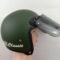 Helm bogo classic/ helm pria wanita/ helm bogo KACA DATAR SMOKE - Hijau army