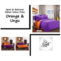 Vige Bedcover Set Katun Premium Warna Polos Orange & Ungu Size Double
