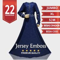 Baju Gamis Wanita Dress Jersey Motif Polos Embos Emboss Busui Jumbo 3