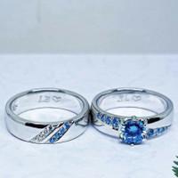 SINAR BERLIAN JEWELLERY - Cincin emas asli 750 blue safir pesanan