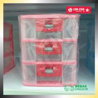 Lemari laci plastik susun 3 lion star pressa midi container PR-17