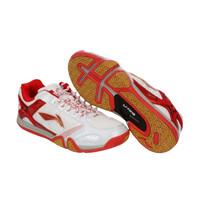 Sepatu Badminton Anak Ukuran 36 LINING Saga White Red