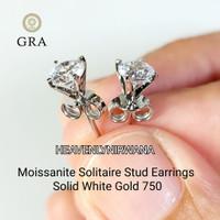 Moissanite Stud Earring White Gold 750 /18k. Giwang Anting Emas ASLI