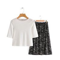 Blouse and Skirt White Black Set Import - M