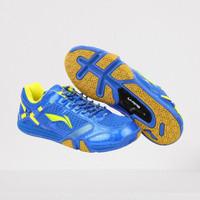 Sepatu Badminton Anak Ukuran 35 LINING Saga Blue Yellow