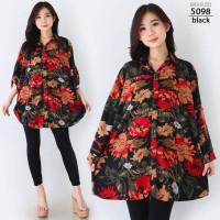 Hem Kemeja Super Jumbo XXXL Baju Atasan Wanita Bigsize LD130 Oversize - 5098-black