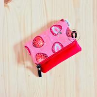 Pink Strawberry Linen Canvas Foldover Mini Coin Purse Dompet Koin