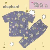 Piyama Anak Laki Laki Baju Tidur Anak Katun Tanpa Kerah Elephant - S