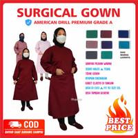 BAJU OPERASI KAIN DRILL APD OK Gown Surgical Apron Bedah Jubah Operasi