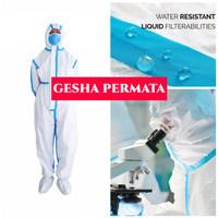 Baju APD Hazmat Suit Anti Virus CoverAll Seam Seal Sealing Biru