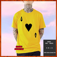 Baju Kaos Distro Kartu AS Remi Hati Pria Wanita Kuning Size S M L XL