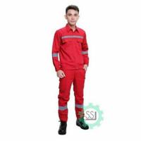 Baju safety seragam kerja proyek setelan celana lengan panjang
