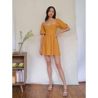 Mini Dress Sexy Yellow Puff sz L Import F-538353