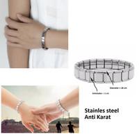 Gelang Tangan Rantai per Silver stainless steel anti karat Pria Wanita