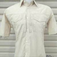 Baju Kemeja krem Sat Pol pp bahan seritek