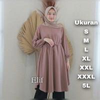 Elif Tunik Big Size - Ukuran L XL XXL XXXL 5L - Atasan Tunik Polos