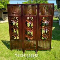sketsel jati motif bunga pembatas ruangan kayu jati