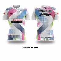 Kaos Jersey Badminton Bulutangkis Costum Exclusive Fullprint VMP075 - Putih, 3XL