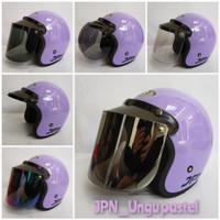 helm retro bogo jpn arc ungu pastel gloss - topi tanpa kaca, M