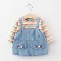 BAJU DRESS IMPORT ANAK PEREMPUAN BABY GIRLS / MOTIF DENIM / BAJU KODOK