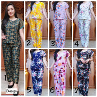 Setelan Baju Tidur Celana Panjang Motif Bali Murah