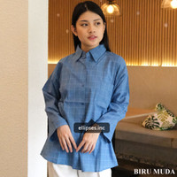Kemeja Kotak Wanita Jumbo / Hinata Windowpane Shirt - ELLIPSES INC.