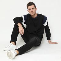 KALE Dael / Baju Sweater Cowok Bahan Baby Terry / Terbaru Dael Black