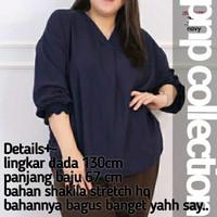 pnp Kemeja Baju Atasan Blouse Wanita Jumbo Bigsize Ld 130 cm Kekinian