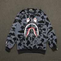 Jaket Sweater Crewneck Bape WGM Zipper Shark Face Camo Abu-Abu