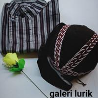 Baju Surjan Hitam Putih Bonus Blangkon Jogja Solo Baju Adat Jawa - baju saja, M