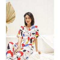 (PJM-004)Baju tidur piyama lengan pendek pajamas wanita nyaman
