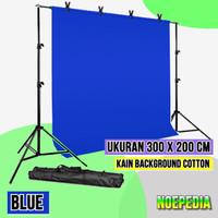 Paket Stand Background 3 x 2 m Backdrop Kain Cotton 300 x 200cm - Biru