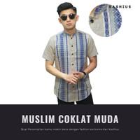 Baju Kemeja Muslim / Baju Koko Pendek Pria Tenun Block Coklat Muda